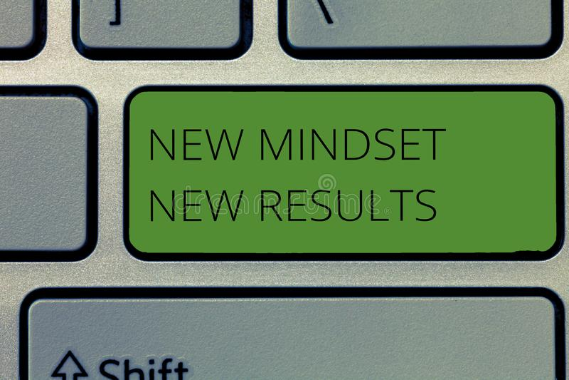 Nota da escrita que mostra a Mindset novo resultados novos Apresentar da foto do negócio aberto às oportunidades nenhuns limites  imagens de stock royalty free