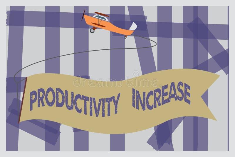 Nota da escrita que mostra o aumento de produtividade Apresentar da foto do negócio obtém mais saída feita coisas pela unidade de ilustração royalty free