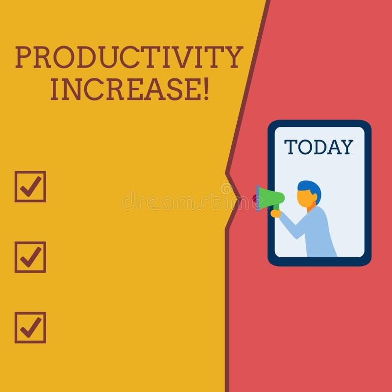 Nota da escrita que mostra o aumento de produtividade Apresentar da foto do neg?cio obt?m mais sa?da feita coisas pela unidade de ilustração stock