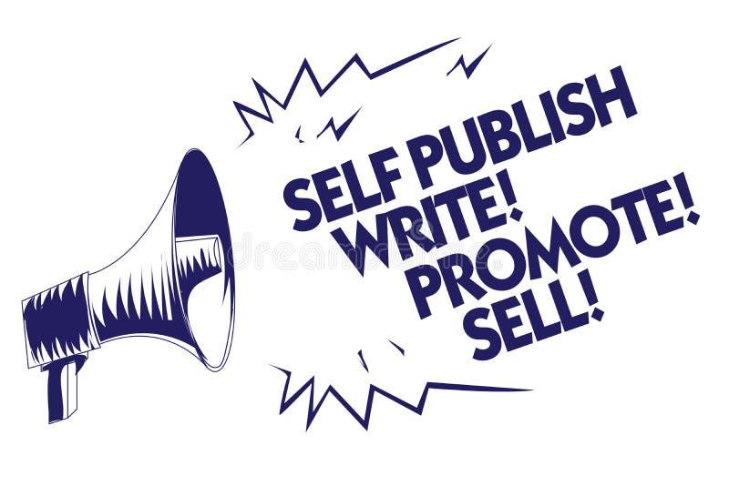 A nota da escrita que mostra o auto publica escreve promove a venda Foto do negócio que apresenta o auto azul da publicidade do m ilustração do vetor