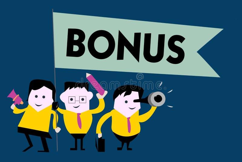 Nota da escrita que mostra o bônus A recompensa apresentando da foto do negócio para o dividendo extra e o dinheiro de bom desemp ilustração royalty free