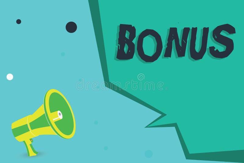 Nota da escrita que mostra o bônus A recompensa apresentando da foto do negócio para o dividendo extra e o dinheiro de bom desemp ilustração stock