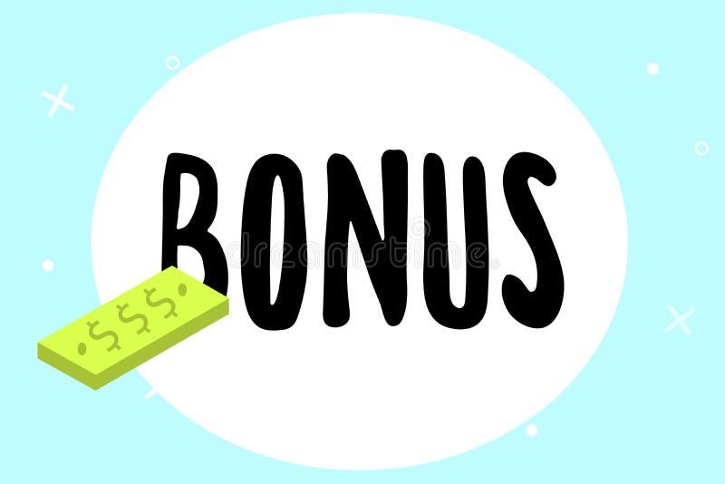Nota da escrita que mostra o bônus A recompensa apresentando da foto do negócio para o dividendo extra e o dinheiro de bom desemp ilustração do vetor