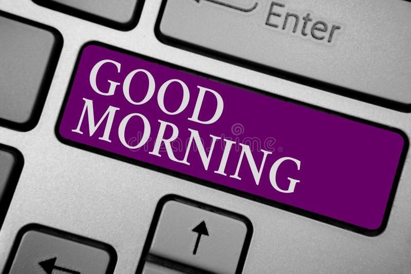 Nota da escrita que mostra o bom dia Foto do negócio que apresenta a expressão convencional de A na reunião ou a divisão na manhã foto de stock royalty free