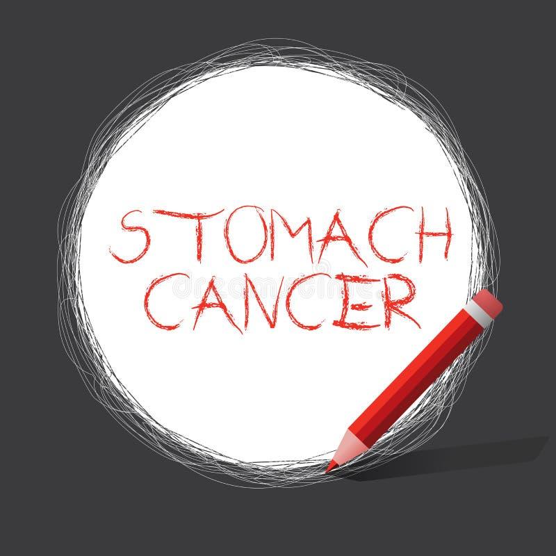 Nota da escrita que mostra o câncer de estômago Foto do negócio que apresenta o tumor maligno do estômago que começa no forro ilustração stock