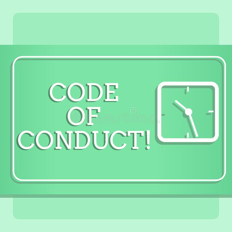 Nota da escrita que mostra o código de conduta Apresentar da foto do negócio segue princípios e padrões para a integridade do neg ilustração do vetor