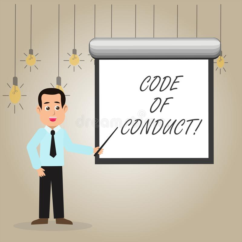 Nota da escrita que mostra o código de conduta Apresentar da foto do negócio segue princípios e padrões para a integridade do neg ilustração royalty free