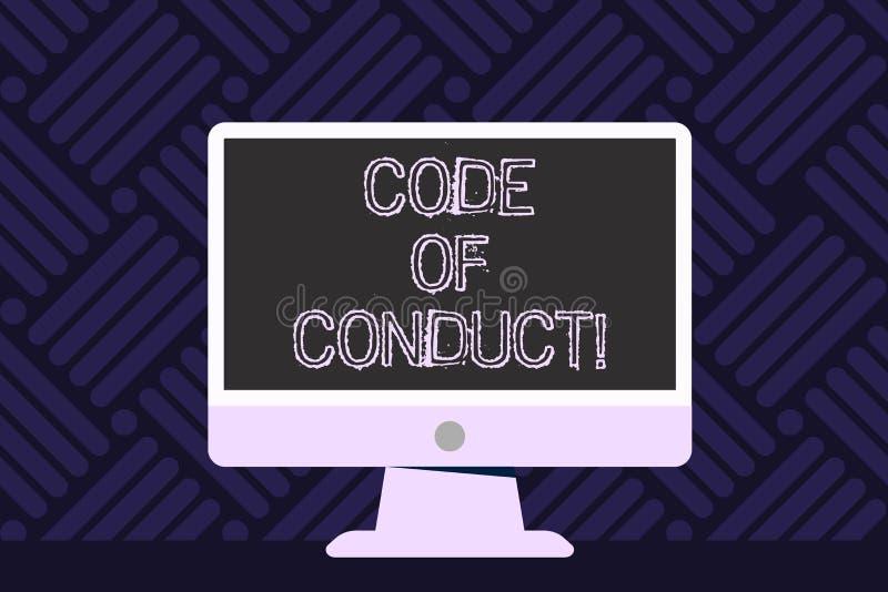 Nota da escrita que mostra o código de conduta Apresentar da foto do negócio segue princípios e padrões para a integridade do neg ilustração stock