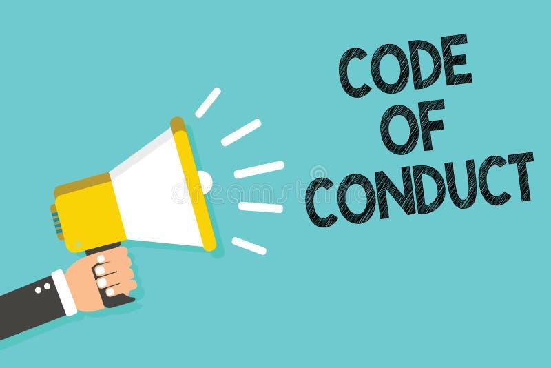 Nota da escrita que mostra o código de conduta Os valores éticos apresentando dos princípios dos códigos morais das regras das ét ilustração stock