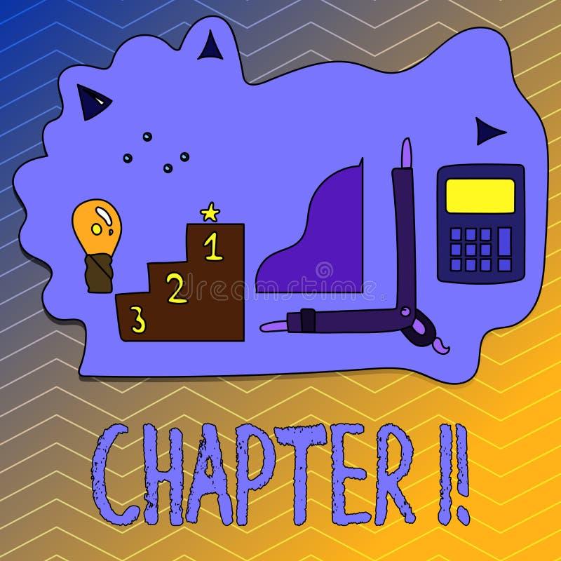 Nota da escrita que mostra o capítulo 1 Foto do negócio que apresenta começando algo novo ou fazendo mudanças grandes em umas via ilustração stock