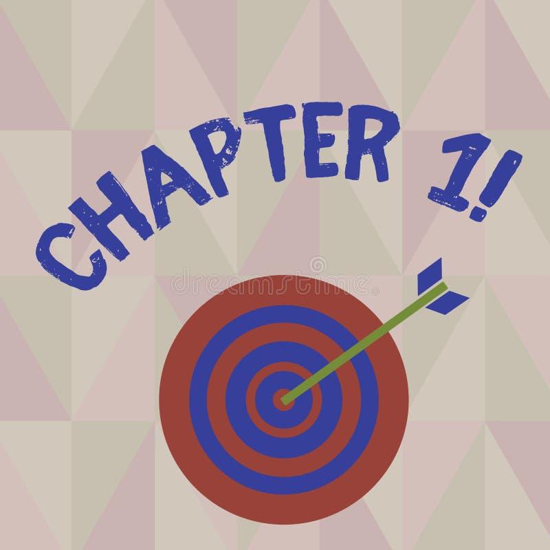 Nota da escrita que mostra o capítulo 1 Foto do negócio que apresenta começando algo novo ou fazendo mudanças grandes em umas via ilustração royalty free