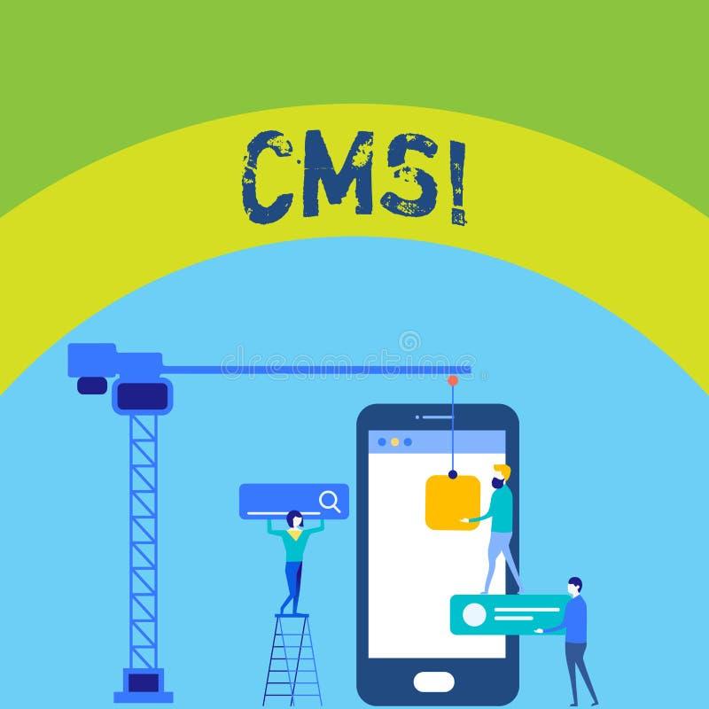 Nota da escrita que mostra o Cms Foto do negócio que apresenta a alteração satisfeita dos apoios de sistema de gestão do conteúdo ilustração stock