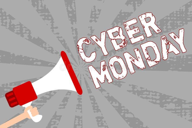 Nota da escrita que mostra o Cyber segunda-feira Termo de mercado apresentando da foto do negócio para segunda-feira após o dia d ilustração do vetor