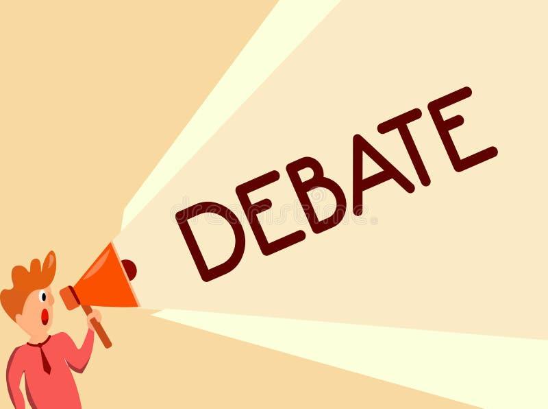 Nota da escrita que mostra o debate Foto do negócio que apresenta a discussão formal no detalhe na reunião ou na assembleia legis ilustração stock