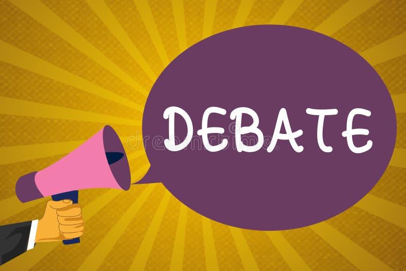 Nota da escrita que mostra o debate Foto do negócio que apresentam a discussão formal no detalhe na reunião ou legislativo ilustração royalty free