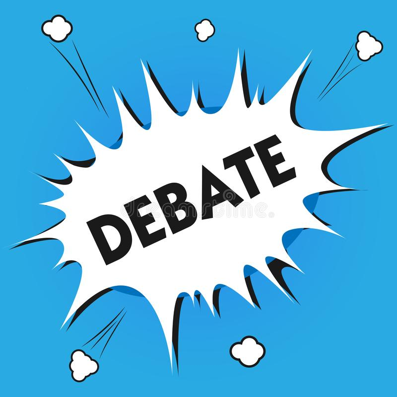 Nota da escrita que mostra o debate Foto do negócio que apresentam a discussão formal no detalhe na reunião ou legislativo ilustração do vetor