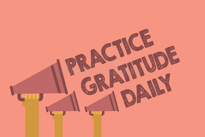 Nota da escrita que mostra o diário da gratitude da prática Apresentar da foto do negócio seja grato àqueles que ajudaram encouar ilustração royalty free