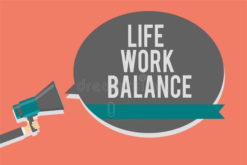 Nota da escrita que mostra o equilíbrio dos trabalhos duma vida A pessoa apresentando da estabilidade da foto do negócio precisa  ilustração stock