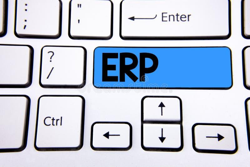 Nota da escrita que mostra o Erp O planeamento apresentando do recurso da empresa da foto do negócio com automatiza as funções do fotografia de stock