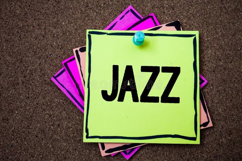 Nota da escrita que mostra o jazz O tipo apresentando da foto do negócio de música do ritmo forte do gênero musical americano pre fotografia de stock royalty free