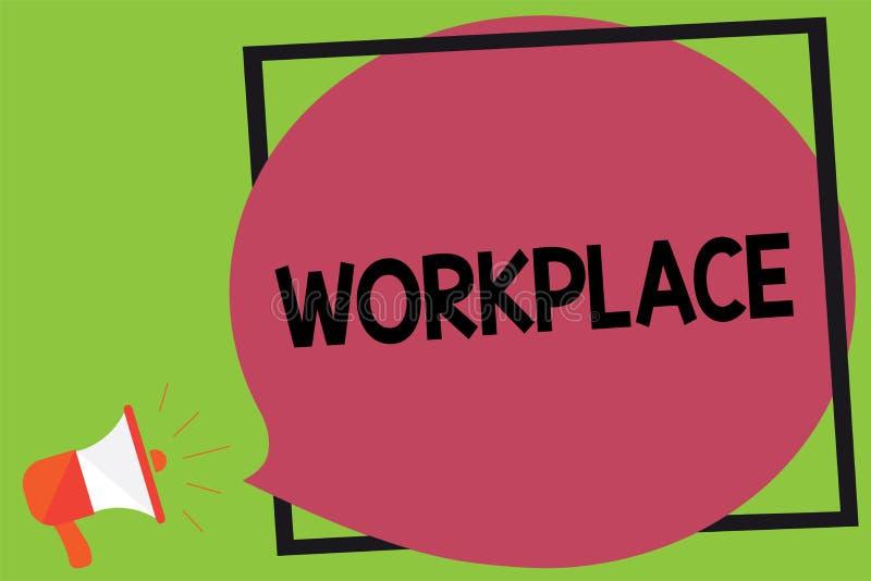 Nota da escrita que mostra o local de trabalho Área apresentando da foto do negócio onde você pode encontrar povos ocupados fazer ilustração do vetor