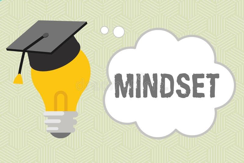 Nota da escrita que mostra o Mindset A foto do negócio que apresenta o grupo estabelecido de atitudes guardou por alguém a atitud ilustração stock