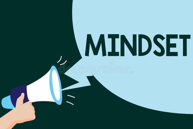 Nota da escrita que mostra o Mindset A foto do negócio que apresenta o grupo estabelecido de atitudes guardou por alguém a atitud ilustração do vetor
