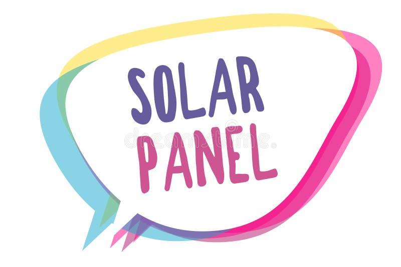 Nota da escrita que mostra o painel solar Apresentar da foto do negócio projetou absorver a fonte dos raios dos sóis de bolha pro ilustração stock
