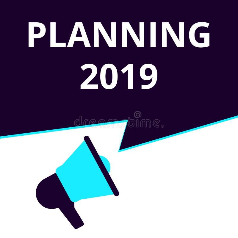 Nota da escrita que mostra o planeamento 2019 ilustração royalty free