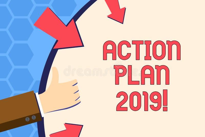 Nota da escrita que mostra o plano de ação 2019 Objetivos apresentando das ideias do desafio da foto do negócio para que a motiva ilustração stock