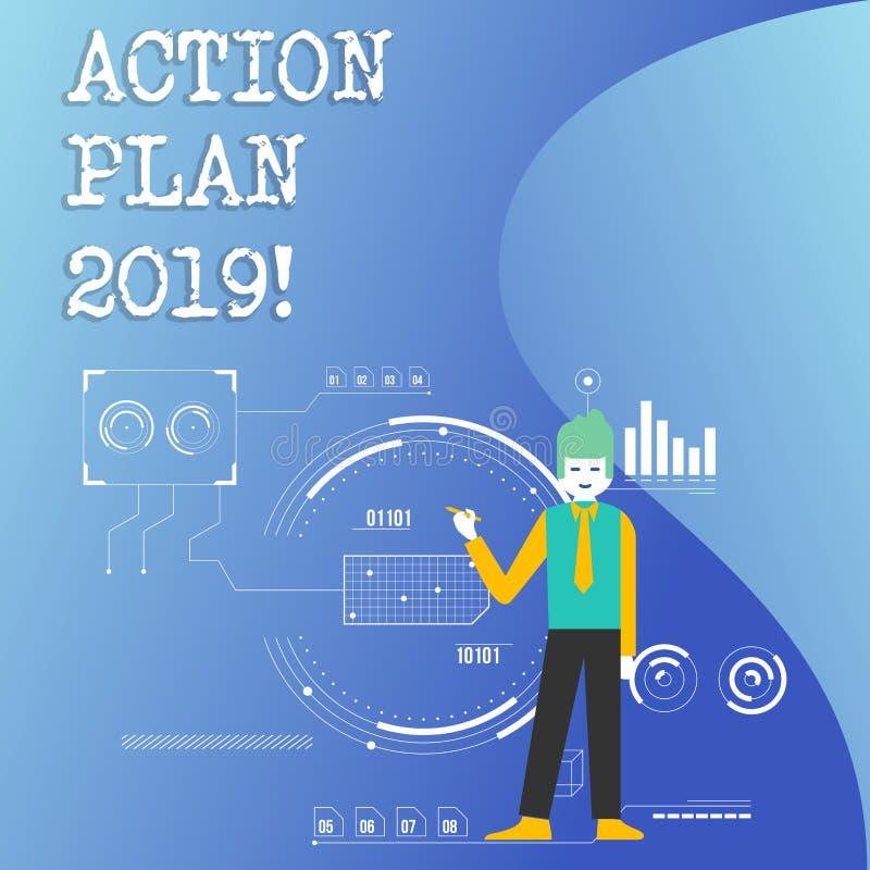 Nota da escrita que mostra o plano de ação 2019 Objetivos apresentando das ideias do desafio da foto do negócio para que a motiva ilustração do vetor