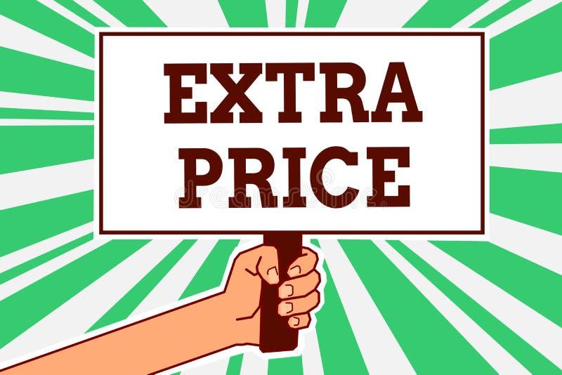Nota da escrita que mostra o preço extra Foto do negócio que apresenta a definição do preço extra além do grande holdi ordinário  ilustração royalty free