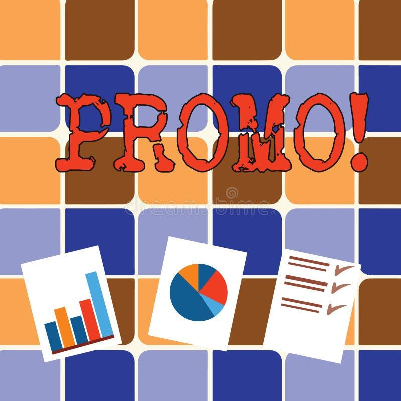 Nota da escrita que mostra o Promo Parte apresentando da foto do negócio de anunciar a apresentação de venda da oferta especial d ilustração royalty free