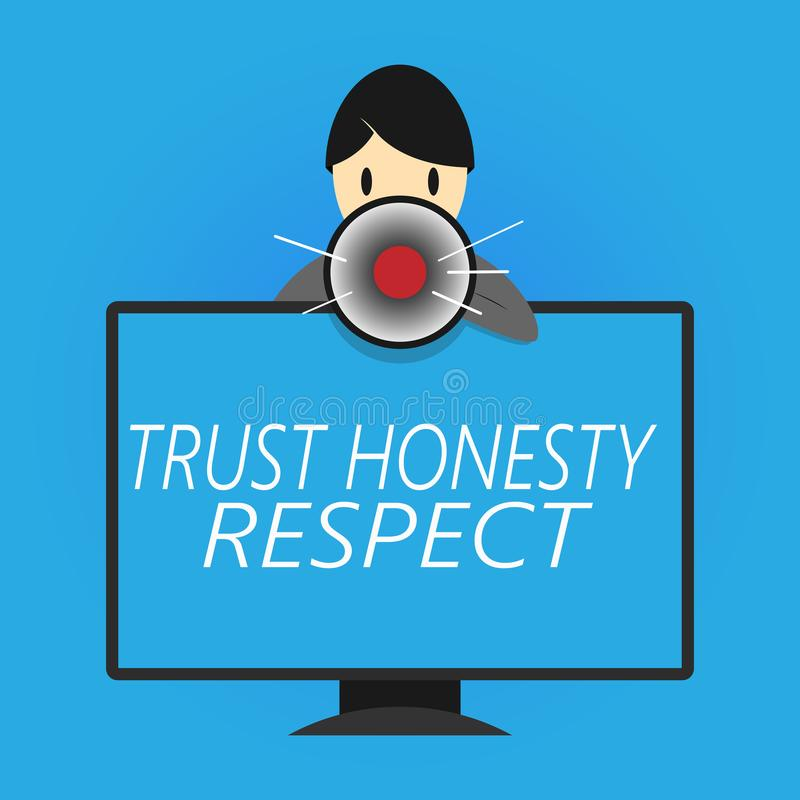 Nota da escrita que mostra o respeito da honestidade da confiança Foto do negócio que apresenta traços respeitáveis uma faceta do ilustração royalty free