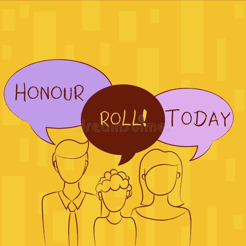 Nota da escrita que mostra o rolo de honra Lista apresentando da foto do negócio de estudantes que ganharam categorias acima de u ilustração do vetor