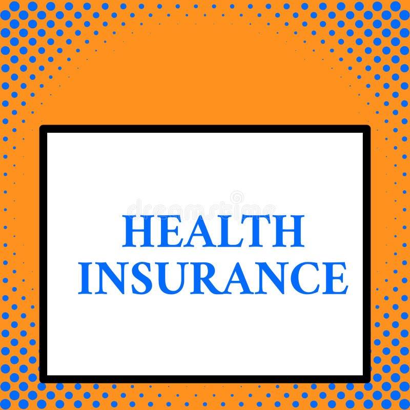 Nota da escrita que mostra o seguro de sa?de O coveragethat apresentando da foto do negócio paga por despesas cirúrgicas do medic ilustração stock