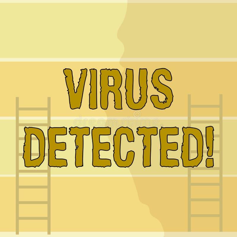 Nota da escrita que mostra o v?rus detectado Apresentar da foto do negócio identificou um malware que isso possível pode prejudic ilustração do vetor