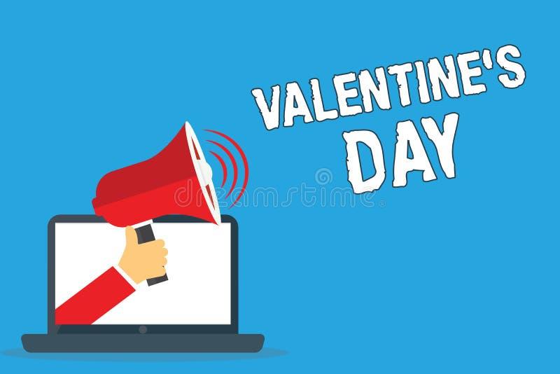 A nota da escrita que mostra o Valentim s é dia Tempo apresentando da foto do negócio em que os povos mostram sentimentos do amor ilustração do vetor