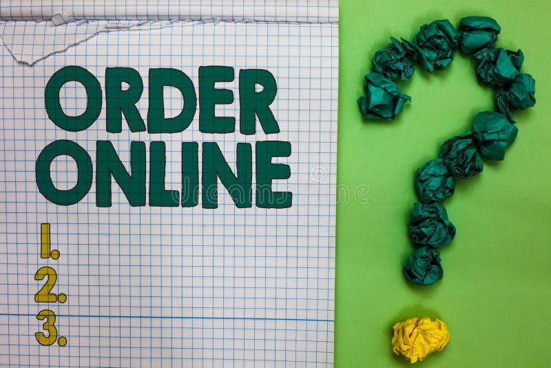 Nota da escrita que mostra a ordem em linha O produtos e serviços de compra apresentando da foto do negócio dos vendedores sobre  fotografia de stock