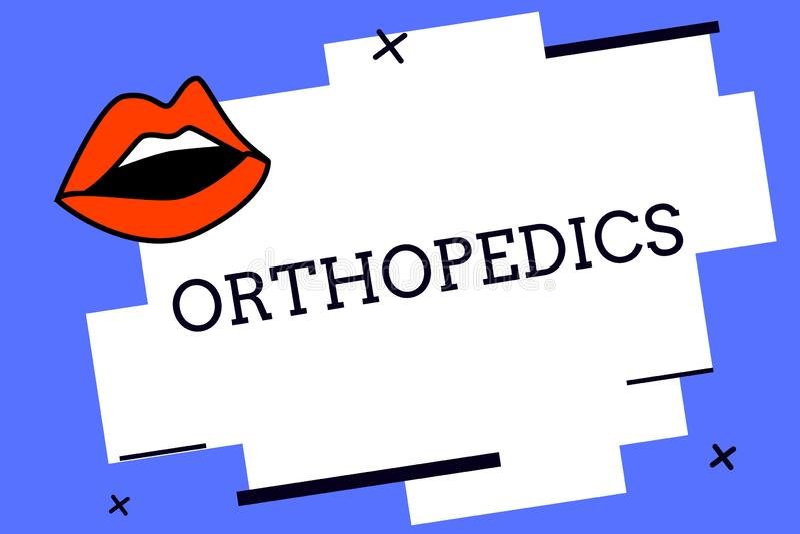 Nota da escrita que mostra a ortopedia Foto do negócio que apresenta a especialidade médica estada relacionada com a correção das ilustração stock