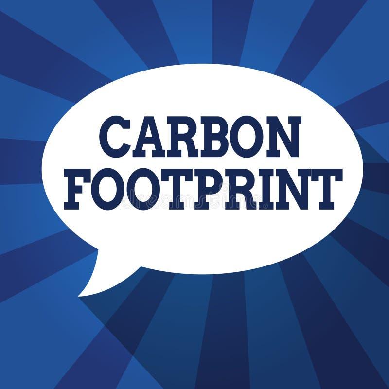 Nota da escrita que mostra a pegada do carbono Uma quantidade apresentando da foto do negócio de dióxido liberou o resultado da a ilustração do vetor