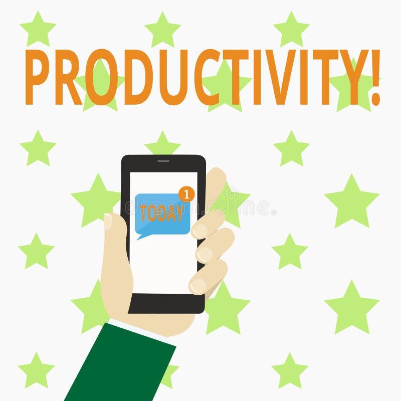 Nota da escrita que mostra a produtividade Foto do negócio que apresenta sucesso do perforanalysisce do trabalho eficaz o grande ilustração stock