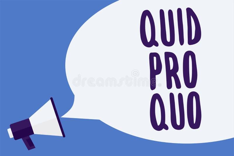 Nota da escrita que mostra quid pro quo Foto do negócio que apresenta o favor ou a vantagem de A concedido ou esperado em retorno ilustração do vetor