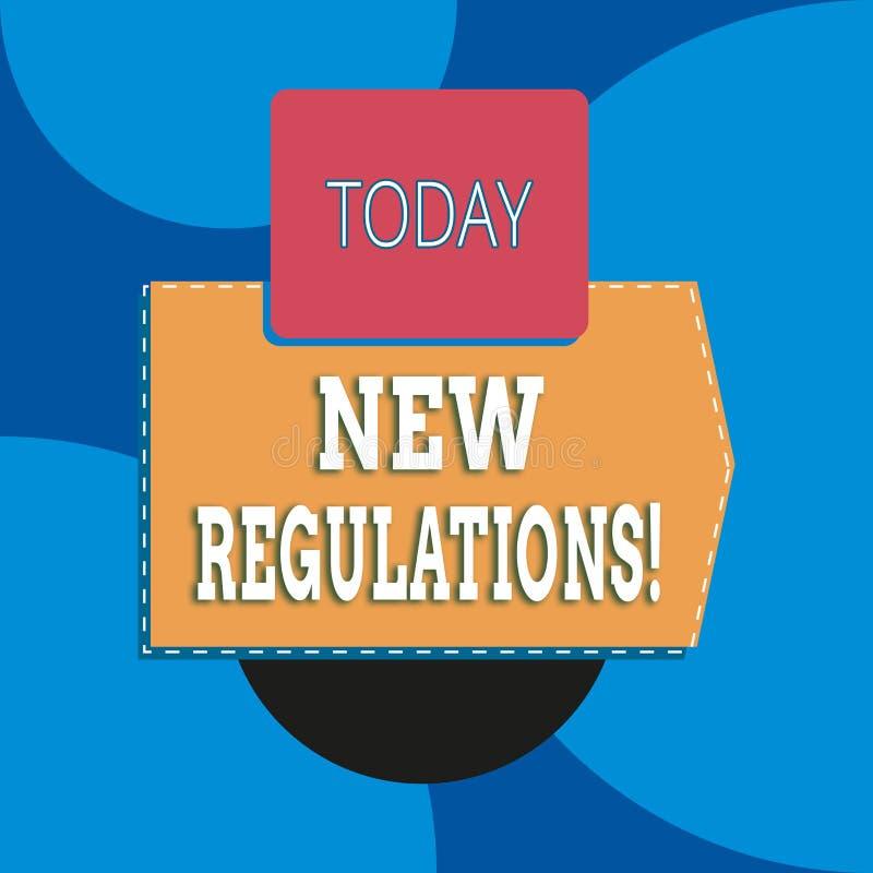 Nota da escrita que mostra regulamentos novos As regras apresentando da foto do negócio fizeram a controle da ordem de governo al ilustração do vetor