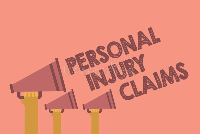 Nota da escrita que mostra reivindicações dos ferimentos pessoais Foto do negócio que apresenta sendo dano ou ambiente interno fe ilustração stock