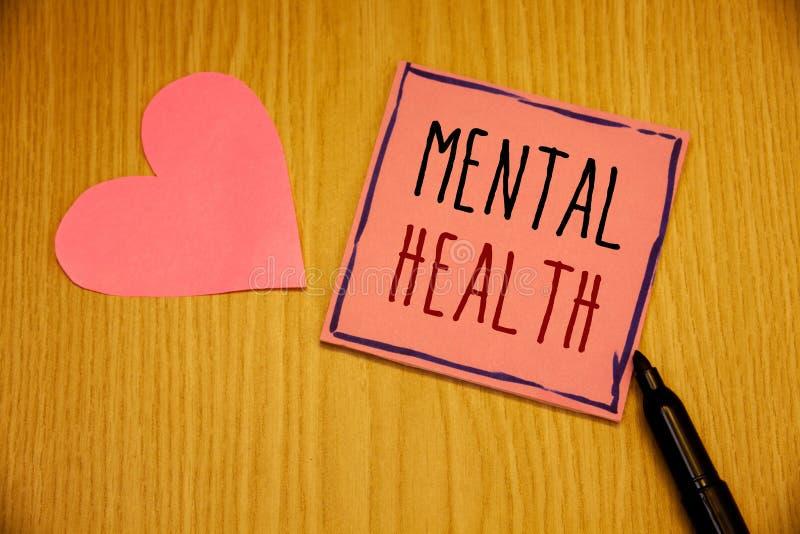 Nota da escrita que mostra a saúde mental Fotos do negócio que apresentam o bem estar psicológico e emocional da circunstância de imagens de stock royalty free