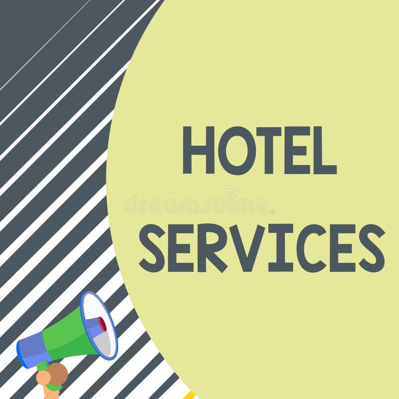 Nota da escrita que mostra servi?os de hotel Cortesias apresentando das facilidades da foto do negócio de uma acomodação e de um  ilustração royalty free
