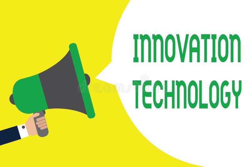 Nota da escrita que mostra a tecnologia da inovação Foto do negócio que apresenta a ideia ou o método novo de técnico ou de cient ilustração royalty free