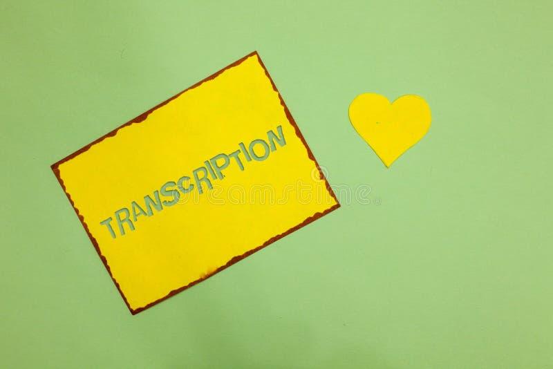 Nota da escrita que mostra a transcrição A foto do negócio que apresenta o processo escrito ou impresso de transcrição exprime a  imagens de stock