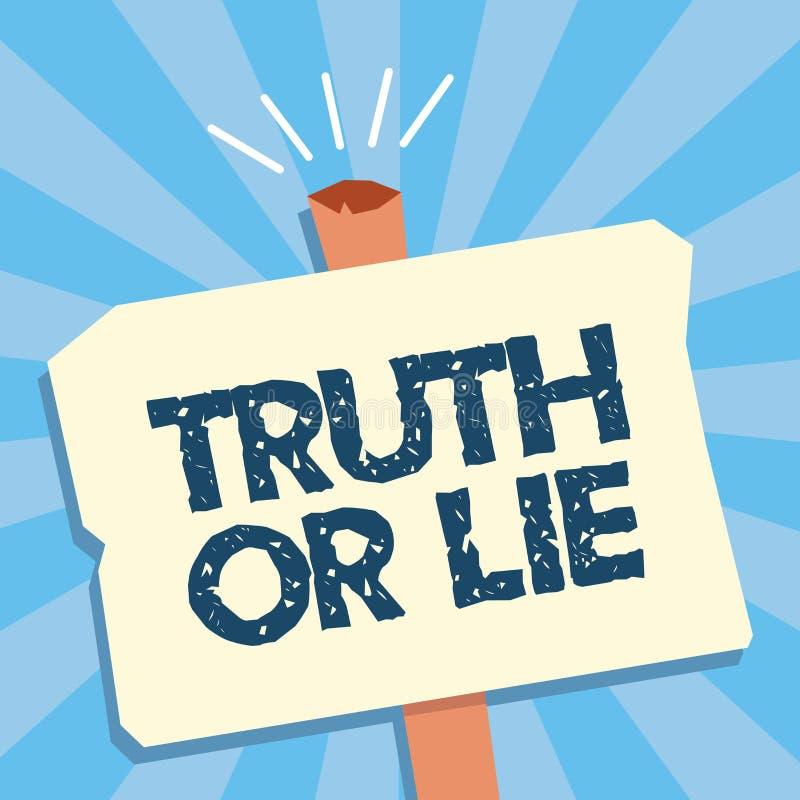 Nota da escrita que mostra a verdade ou a mentira A decisão apresentando da foto do negócio entre ser dúvida bem escolhida desone ilustração do vetor